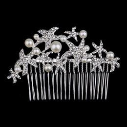 Wholesale Wholesale Crystal Starfish Hair Clip - 100pcs Fashion Bridal Wedding Starfish Rhinestones Pearls Women Hair Clip Comb Hair Pin Accessories Jewelry WA0568