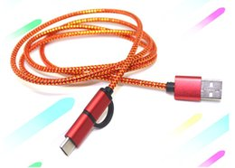 Wholesale Nexus Lg Smartphone - 2A 1M 3FT 2 in 1 Quick Micro USB+Type-C Braided Sync Charger Cable For Android Type C Smartphone Tablet Google Nexus 5X 6P Lot GSCP2497