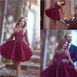 Wholesale Knee Length Plum Dress - 2016 Burgundy Plum Short Cocktail Dresses Sheer Long Sleeve with Beads Sequins Said Mhamad Neck Homecoming Dress Short Prom Party Gowns