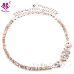 Wholesale Tassel Womens Belt - Hot Sale 2016 Lovely 2 Flowers Gold Metal Belt For Dress Womens Rhinestone Belts Female Fashion All-match Tassel Skirt BL-769