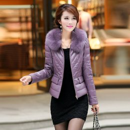 Wholesale Padded Leather Neck Collar - Women's luxury genuine leather natural real fox fur collar warm duck down padded long sleeve short parka slim waist coat XXXL