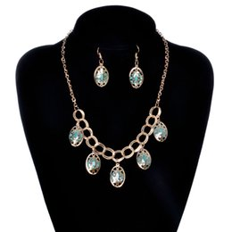 Wholesale Epacket Jewelry - Hot Creative Fashionable Europe and America necklace earring sets chain selling ethnic style jewelry sets Wholesale 20 sets Epacket Free