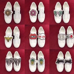 Wholesale Aw White - 2017 aw new arrival fashion women rhinestone white genuine leather flats shoes, women white sneakers flat shoes free shipping