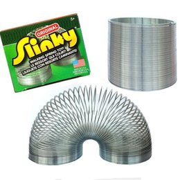 Wholesale Slinky Wholesale - Free Ship funny gadgets Classic Stress-Relieve Copper Magic Slinky metal Rainbow Spring magic tricks 1pcs Toy kids Gift