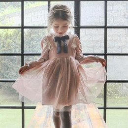 Wholesale Gauze Clothing Wholesale - Girls princess dresses Autumn new Kids Bowsnot tie suspender dress children doll collar flare sleeve mesh gauze dress Kids clothes B11