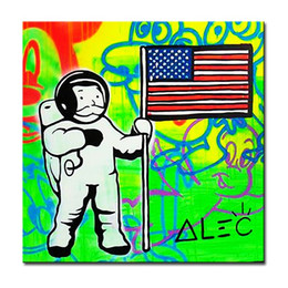 Wholesale Space Art Paintings - space Alec monopoly Graffiti mr brainwashart print canvas for wall art decoration oil painting wall painting picture No framed
