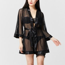 Wholesale Transparent Bathrobes - Wholesale- Sexy Lace Transparent Black Vintage Embroidery Nightwear Robes Female Bathrobes