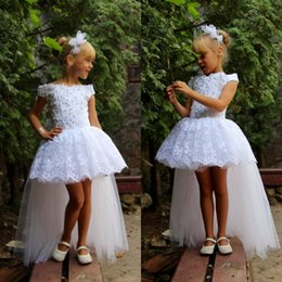 Wholesale Kids Wearing Mini Skirts - 2016 Lovely White Flower Girl Dresses Short Girls Pageant Gowns Tutu Skirt with Tulle Train High Low Beaded Lace Appliques Kids Party Wear