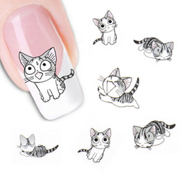Wholesale Cute Nail Water Stickers - New Fashion Lovely Sweet Water Transfer 3D Grey Cute Cat Nail Art Sticker Full Wraps Manicure Decal DIY
