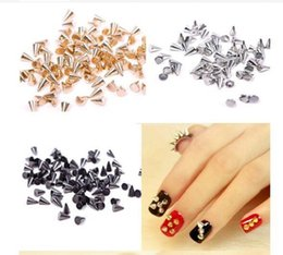 Wholesale Wholesale Metallic Cones - 100PCS Punk Stunning Cone 3D Nail Art Decoration Metallic Stud Rivet Silver Nail Studs Brand New