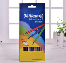 Wholesale 12 boxed color drawer style boxed hexagonal mahogany high quality color pencil children s toys