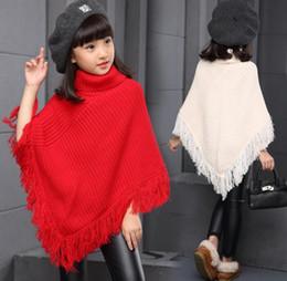Wholesale Girls Crochet Coat - Children Poncho Knit Crochet Tassel Shawl high collar poncho children tassel christmas Gown winter girl princess warm coat KKA3448