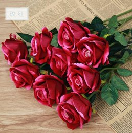Wholesale Chinese Silk Velvet - IN STOCK Simulation roses wedding supplies High-end simulation plant velvet roses artificial flowers home decoration products B56