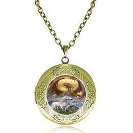 Wholesale Men Necklace Dragon Silver - Glass Locket Necklace Dragon and Unicorn Photo Frame Pendant Horse Jewelry Gothic Animal Sweater Necklace for Women Men Fashion Accessories
