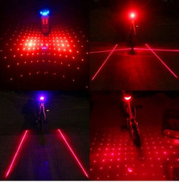 Wholesale Bike Ray Lights - 2 Laser + 5 LED Cycling Bicycle Bike Taillight Safety Warning Lamp Flashing Alarm seatpost Light Caution Alert Ray Flicker