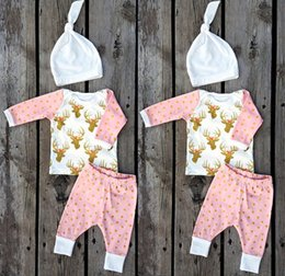 Wholesale Polka Dots Outfits - Infant Boys Girls Xmas Deer Pink gold dot T-shirt tops & baby ins polka Pants & infant white caps hats 3pcs Baby Outfits Set 2year