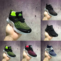 Wholesale Knitted Baby Shoes - Kids Air Presto Knitting Vamp Portable Running Shoes Children Athletic Shoes Boys Girls Training Sneaker Baby Sports Shoes Black Blue Green