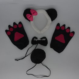 Wholesale Kids Panda Gloves - Novelty Kids Prince Panda Party Animal Headband Ears Tie Tail Paws Gloves Carnival Halloween Costume Hair Accessories
