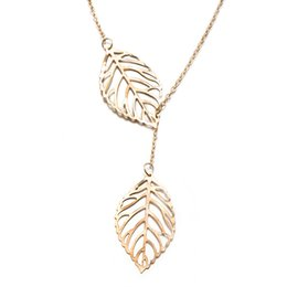 Wholesale Popular Feather Jewelry - Hot Sale Wholesale Coat Chain Hollow Leaf Feather Pendant Necklaces Choker Circle Key Romantic New Fashion Popular Jewelry, Free Shipping