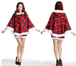 Wholesale Santa Claus Suits For Women - Holiday dress cute Scotland Plaid suit Hooded cloak Sexy Wrap chest Temptation shorts Three pieces of clothing for Christmas season Passion
