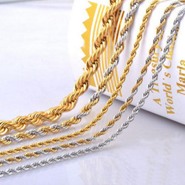 Wholesale Titanium Rope Jewelry - 4mm Gold Chain For Men Hot Sale Twist Chains Necklaces Titanium Steel Rope Necklace 20 22 24inch Jewelry wholesale Free Shipping - 0011LDN