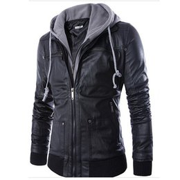 Wholesale Mens Leather Hoods - Fall-New Fashion Mens Hooded Leather Jackets And Coats PU Leather Casual Black M-XXL Men's Motorcycle Leather Jacket With Hood Q0315