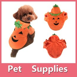 Wholesale Wedding Dress Costume Xl - Halloween Pumpkin Pets Dog Clothes Puppy T-shirt Apparel Dress Hoodie Costume Pet Supplies Size XS-XL 160918