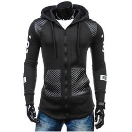Wholesale Leather Sweatshirt Men - Sweatshirt men hoodies hip hop Slim leather fight print cardigan Sweatshirt zipper mens sportsware tracksuit Hoodie