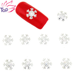 Wholesale 3d Christmas Nail Art Designs - Wholesale- 10 Pcs Lot Gold Silver Alloy Metal Snowflake Design Studs Supplies For Nails Charms Christmas 3D Nail Art Decorations TN1620