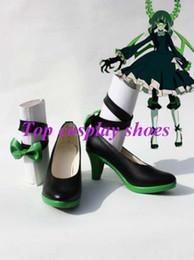 Wholesale Death Costumes - Wholesale-Freeshipping Vocaloid Death Master Cosplay Black Rock Shooter BRS Cosplay Shoes high heel for Halloween Christmas festival