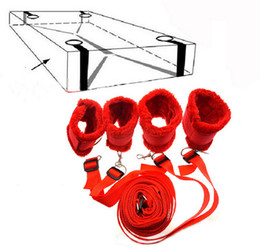 Wholesale Sex Tie Rope - Sex Toys Tied Tease Under Bed Bondage Restraint Nylon Velvet Hand Cuffs &Ankle Cuffs Set Sex Products For Couples Sexy Game