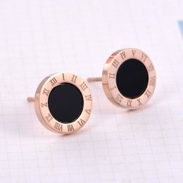 Wholesale Rose Numbers - Hot Sale Fashion Elegant Charming Stainless Steel Silver Rose Gold White Shell And Black Roman Numeral Stud Earrings For Women Free Shipping