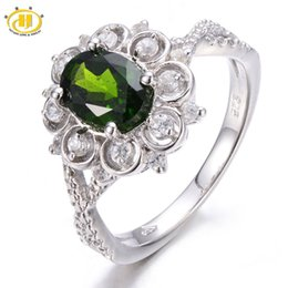 Wholesale Diopside Rings - Wholesale-NEW 1.76ct Natural Chrome Diopside Vintage Ring Solid 925 Sterling Silver Women's Rings Fine Jewelry Gift