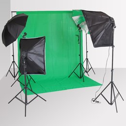 Wholesale Photography Stand Backdrop Holders - Wholesale-Backdrop Kit Photography SoftBox Lighting Kit + 4 Lamp Holder Softbox +Light Stand+ Reflective Umbrella + Background Stand+Cloth