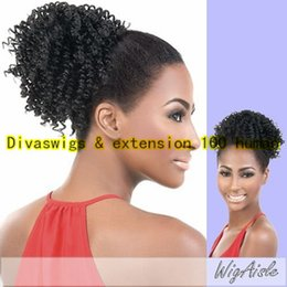 Wholesale Remi Curly - dora Unprocessed Indian remi Hair Afro Kinky Curly Ponytail extension Virgin Real Hair Ponytail Hair Extensions Pieces