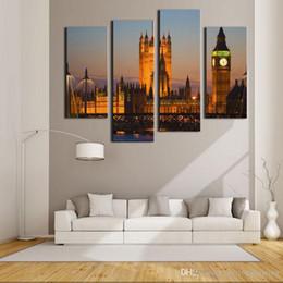 2019 décorations de pont 4 images murales combinées pour la décoration intérieure Big Ben House of Parliament décorations de pont pas cher