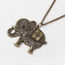 Wholesale Thailand Ethnic Silver - Fashion Elephant Ethnic Necklace Full Crystal Thailand Elephant Pendant Sweater Chain Fine Necklaces&Pendant Size 4.5cm x 5.3 cm