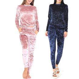 Wholesale Ladies Velvet Suits - 2017 Women Two Piece Set Female Winter Tracksuit Velvet Hoodies Top + Pants Ladies Long Sleeve Outfit Femme Sporting Suits