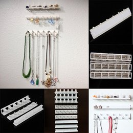Wholesale Earrings Plastic Holder - 9Pcs Set Adhesive Jewelry Display Hanging Earring Necklace Ring Hanger Holder Packaging Organizer Display Rack Sticky Hooks