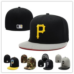 Wholesale Cheap White Baseball Hats - Cheap Pirates Fitted Caps P Letter Baseball Cap Embroidered Team P Letter Size Flat Brim Hat Pirates Baseball Cap Size