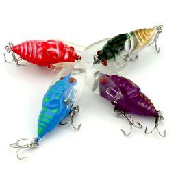 Wholesale big bass bait - 4cm 6.4g PC Plastic 3D Eyes Popper Fishing Lures Bass CrankBaits Cicada Tackle 4 Colors set