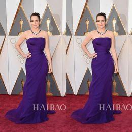 Wholesale Tuxedo Backless Dress - 2016 Purple Elegant evening dressess Sheath Strapless Ladies formal tuxedo Backless Hourglass Celebrity Party Formal Dresses Long 2017 QW811
