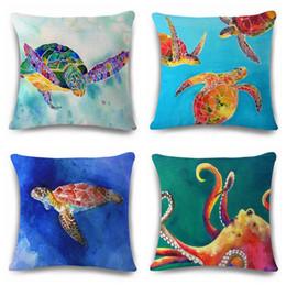 Wholesale Green Turtle Pillow - watercolor sea turtle cushion cover octopus sofa throw pillow case tortoise cojines seal almofada marine giraffe home decor