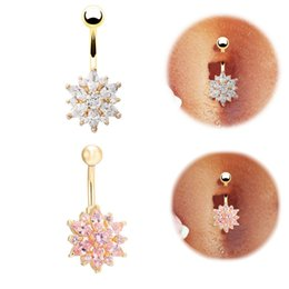 Wholesale Titanium Body Piercing 14g - Wholesale 14G Flower Rhinestone Sexy Dangle Navel Belly Button Ring Body Piercing for Women Girls Party Fashion Jewelry