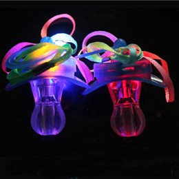 Wholesale Survival Necklace - Light Up Pacifier Nipple Whistle Necklace Colorful Flash Led Whistle Stag Hen Party Concert Sports Cheering Glow Props survival tool favors