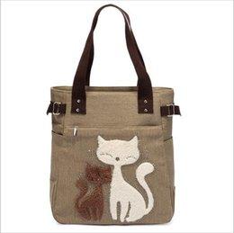 Wholesale Toto Bags - Fashion Women Canvas Handbag Cute Cat Appliques Travel Shoulder Bags Causal Lady Handbags Female Shoulder Toto Bags Bolsa