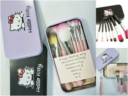 Wholesale Hello Kitties - hello Kitty lovely makeup brush suit 7 iron box cartoon makeup brush DHL Free shipping