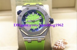 Wholesale Black Rubber Wrist Bands - Luxury high quality 15710 15710ST.OO.A038CA.01 42mm Green Dial Automatic Mens Watch Watches Rubber Strap Bands Stainless Steel Wrist watch