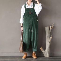 Wholesale Corduroy Overalls Women - Wholesale- 2016 New Arrival Women Corduroy Overalls Boy Friends Fit Woman Jumpsuit loose full length pants Femme Bib Causal Daily Trousers
