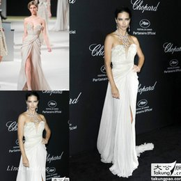 Wholesale Adriana Lima - Adriana Lima Elie Saab Evening Dress Sexy Side Slit Chiffon Long Celebrity Wear Special Occasion Dress Prom Party Gown